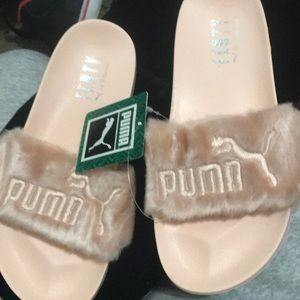Puma pink fur slides by Rihanna